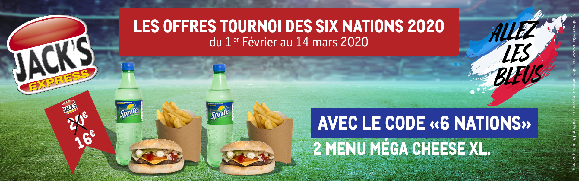 Promo Menu méga cheese XL tournoi des six nations rugby